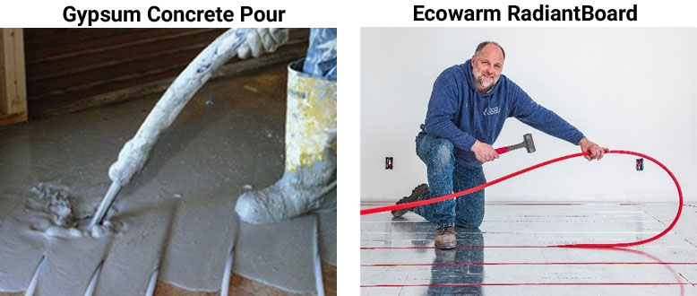 Compare Ecowarm Radiant Board to Gypsum Concrete Pour