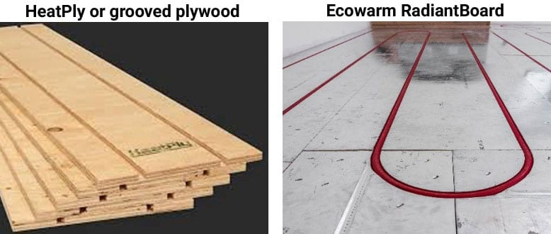 Ecowarm RadiantBoard compared to HeatPly or grooved plywood