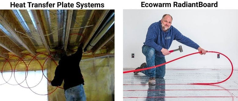 Compare Ecowarm RadiantBoard to Heat Transfer Plate Systems