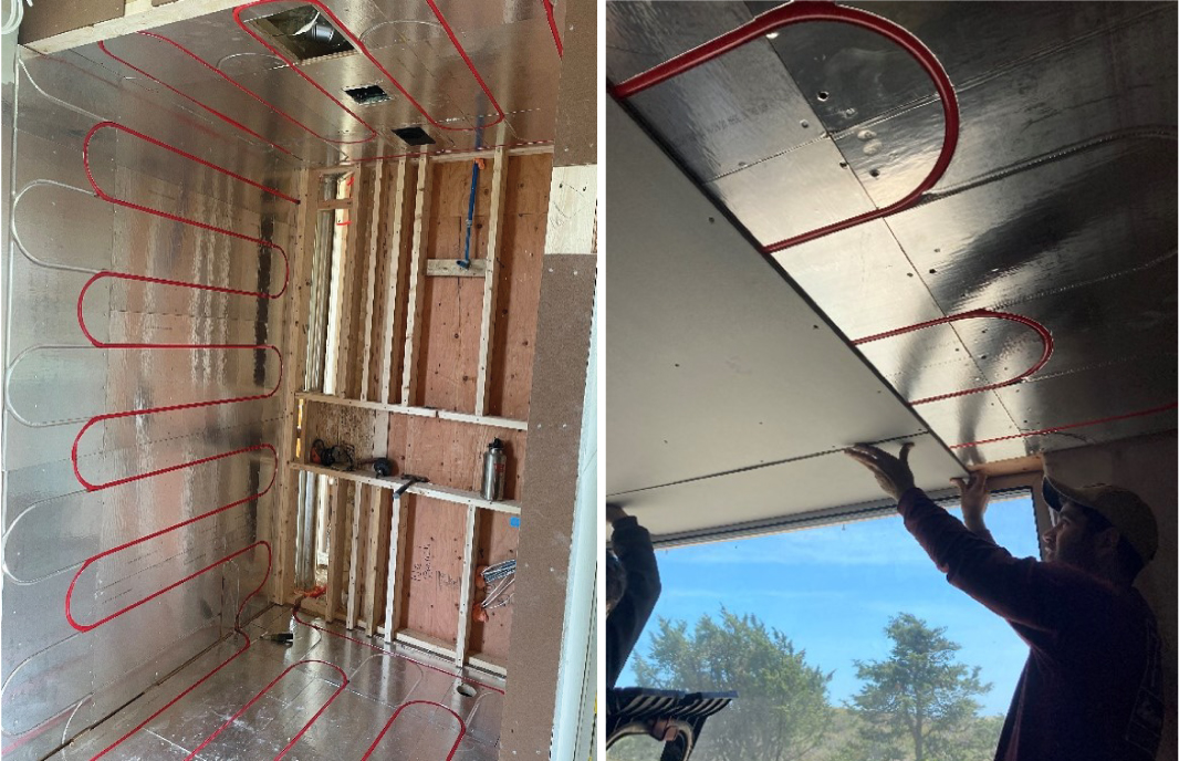 Radiant Heat Installed In Shower Wall & Ceiling